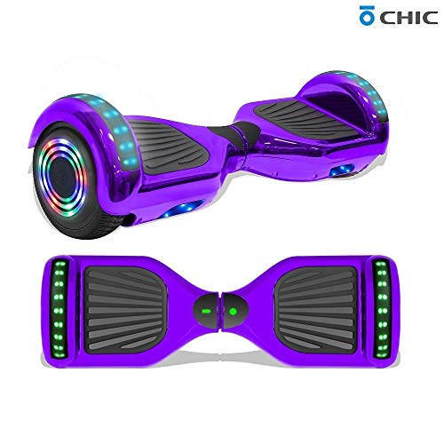 "Longtime 6.5"" Chrome Metallic Hoverboard Self Balancing Scooter with Speaker LED Lights Flashing Wheels (Chrome Purple)"