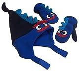 N'Ice Caps Boys 2 Ply MIcro Fleece Dino Design Hat And Mitten Set (Child 3-6yrs, Navy/Royal/Neon Blue)