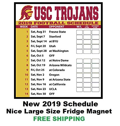 2019 NCAA USC Trojans Football Schedule Fridge Magnet - Football Trojans Ncaa