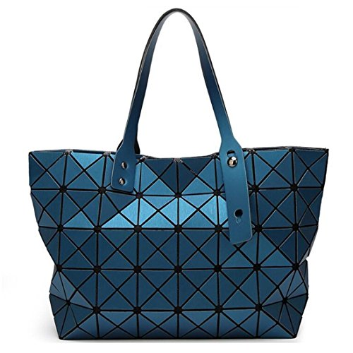 Fashion Geometric Lattice Top-handle Handbag Matte PU Leather Tote Purse and Handbags Unique Geometry Shoulder Bag (Matte Lake Blue)
