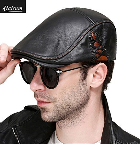 - Haisum Men Genuine Leather Newsboy Cap, Ivy Gatsby Flat Golf Driving Hunting Hat, Classic Beret Hat for Outdoor