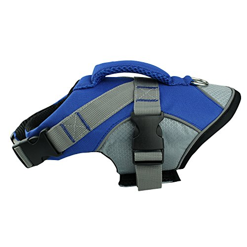 - HOLDOOR Sport Style Dog Life Jacket with Rescue Handle and Reflective Trim - for Small, Medium and Large Breeds - Adjustable, Buoyant, Abrassion-Resistant, Ripstop