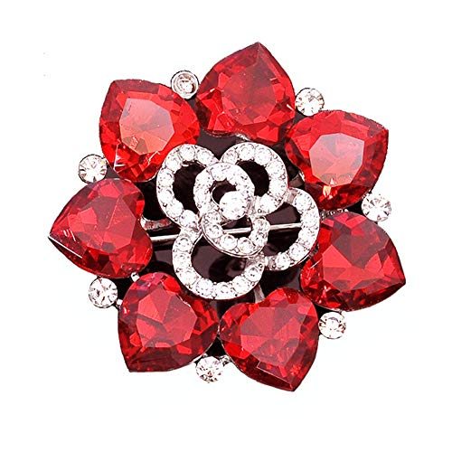 Ruby Red Rhinestone Pin - Maikun Christmas Brooch Pin Clear Rhinestone Opal Flower Accessaries Tree Socks Valentine's Gifts