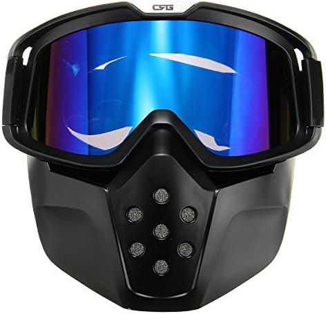 JenNiFer Abnehmbare Modulare Gesichtsmaske Schild Brille Blaue Linse Für Motorradhelm Reiten