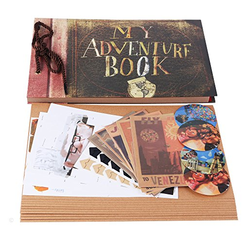 "My Adventure Book Scrapbook Photo Album 11.6""x7.5"" inches 40 Sheets with 10 sheets Refill Pages 5 Postcards and 2 Photo Corner Stickers"