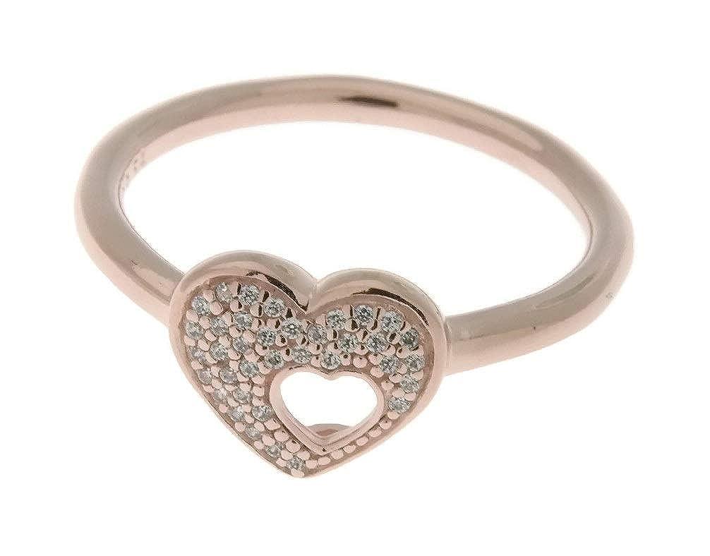 0d28ba36b Amazon.com: PANDORA Shimmering Puzzle Heart Frame Ring, PANDORA Rose &  Clear CZ 186550CZ-54 EU 7 US: Jewelry