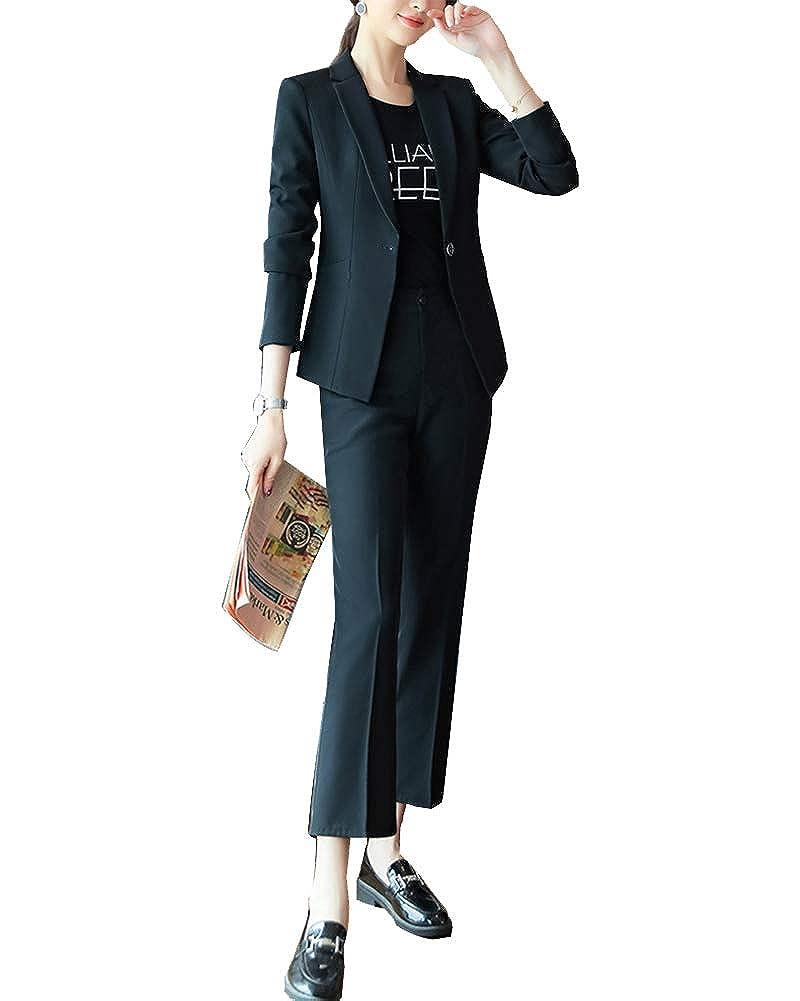 ShiFan Giacca E Pantalone da Abito Donna Basic Maniche Lunghe Tailleur per Cerimonia