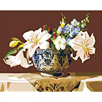 OKOUNOKO Dipingere con I Numeri Adulti Fiori Classici Pittura By Numbers Quadro su Tela Home Wall Art Picture Coloring By Numbers Frameless 40X50Cm