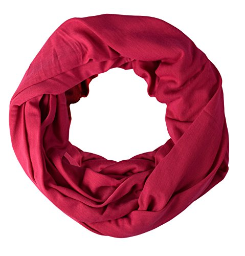 Peach Couture Cotton Soft Touch Vivid Colors Infinity Loop Scarf Scarves Jersey Knit Hot Pink (Jersey Cotton Scarf)
