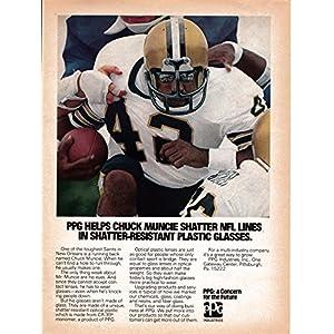 1978 Chuck Muncie -New Orleans Saints- Eye Glasses- PPG Ind Original Magazine Ad