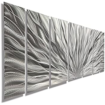 Amazoncom Silver Metal Wall Art Beautiful Silver Etched Metallic