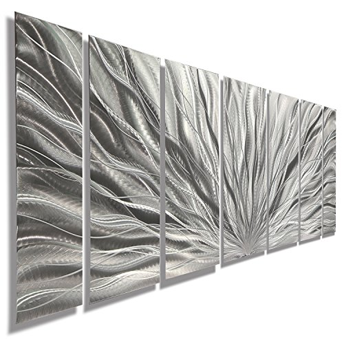 Silver Metal Wall Art - Beautiful Silver Etched Metallic Wall Art - Wall Sculpture, Wall Decor, Home Accent, Panel Art - Abstract, Modern Contemporary Design - Silver Plumage By Jon Allen by Statements2000