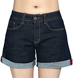 Betusline Women Fashion High Waist Stretch Denim Shorts