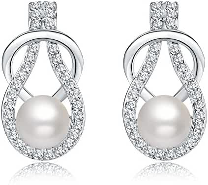 Silver Crystal Diamond Accent Pearl Round Circle Fashion Earrings Studs Drop Set for Women, with a Gift Box, White