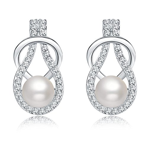 Move&Moving Silver Crystal Diamond Accent Pearl Round Circle Fashion Earrings Studs Drop Set for Women, with a Gift Box, (Crystal Set Drop Earrings)