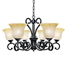 LNC Traditional Chandelier, 6-light Black Antique Pendant Lighting with Frosted Glass Shade for Dining Room, Living Room, Restaurant, Bedroom