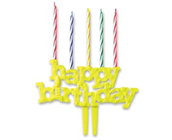 DecoPac Happy Birthday Candle Holder With Candles DecoPic Cupcake Picks Yellow 3 Count