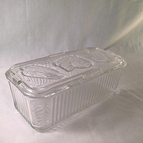 Vintage Federal Glass Refridgerator Dish w/ Vegetable Patterned Lid 8 x 8 x 3 ()