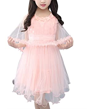Vestido De Princesa Para Niñas Verano Casual Boda Cumpleaños Fiesta Vestidos De Tul Con Encaje Chal
