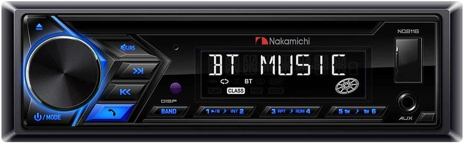 Nakamichi NQ811B Bluetooth CD MP3 Player Car Stereo Receiver with Built-in Bluetooth Hands-Free Calling Music Streaming USB AUX Inputs with Detachable Front Panel