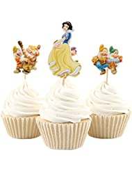 Betop House 24pcs Snow White and Seven Dwarfs Themed Party Decorative Cupcake Topper