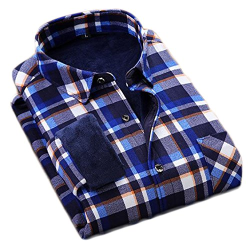today-UK Mens Thicken Warm Plaid Long Sleeve Button Down Casual Shirts 3