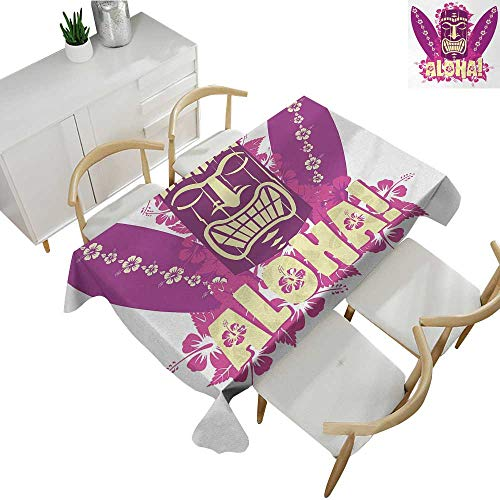 Tiki Bar,Party Table Cloth Tiki Culture Figure Surfboards Hibiscus Hand Drawn Aloha Art Patterned Tablecloth Hot Pink Purple Pale Yellow 70