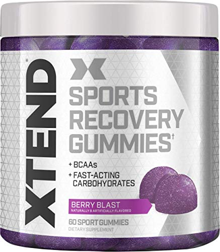 Scivation Xtend Sports Recovery Gummies, Berry Blast, 60Count, 3500mg Branched Chain Amino Acids, Bcaas, Fast-Acting Carbohydrates (Fast Recovery Bcaa)