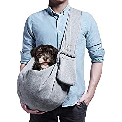 artisome Adjustable Dog Cat Pet Sling Carrier Bag Front Pack Easy Shoulder Strap Purse Comfy Pouch for Small Animals Up to 10 lbs (Grey, Adjustable)
