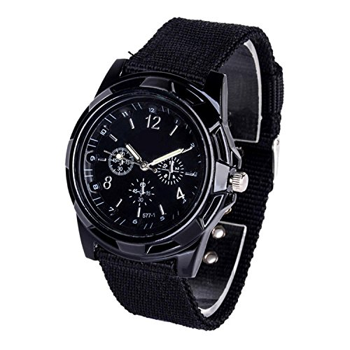 Dasado Men Weave Textile Band Round Analog Quartz Wrist Watch Bracelet Bangle
