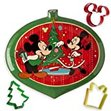 Mickey and Minnie Mouse Christmas Serving Plate and Cookie Cutter Set by Disney