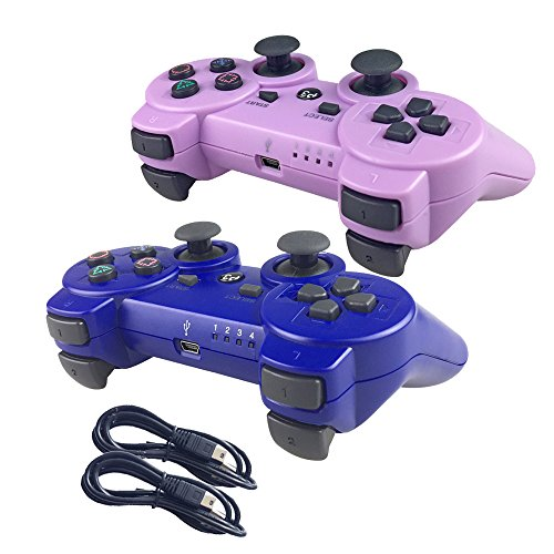 Nesada 2 Packs Wireless Bluetooth Controller For PS3 Double Shock - Bundled with USB charge cord (Purple and Blue)