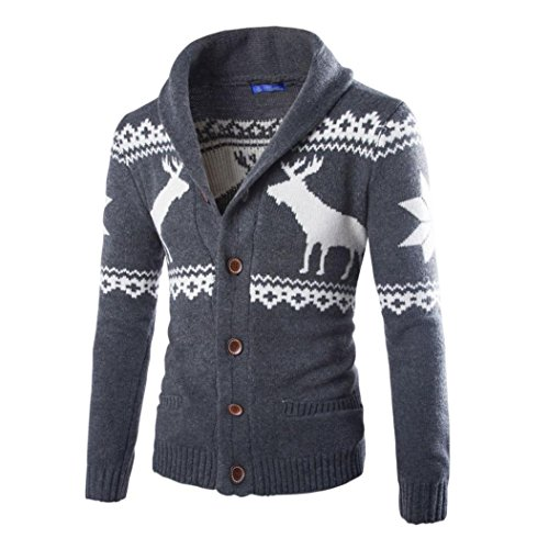 XUANOU Winter Christmas Sweater Cardigan Men's Xmas Knitwear Coat Jacket Sweatshirt (Dark Gray, XL) Men's V Neck Christmas Jumpers