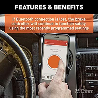 CURT 51180 Echo Mobile Electric Trailer Brake Controller with Bluetooth-Enabled Smartphone Connection, Proportional