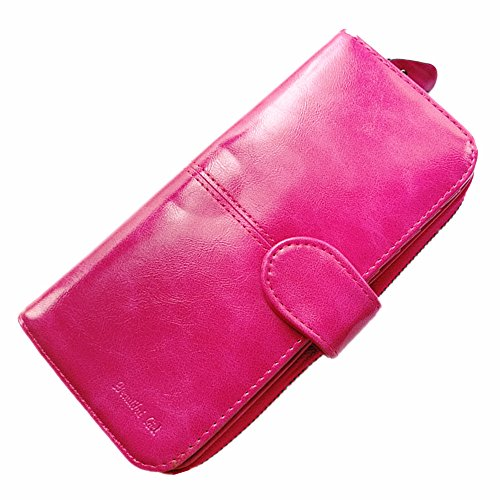 Portable Wallet (Women's Large Capacity Long Zip Wallet with Detachable Wrist Strap RFID Blocking Card Holder Organizer Wristlet Clutch (Rose red))