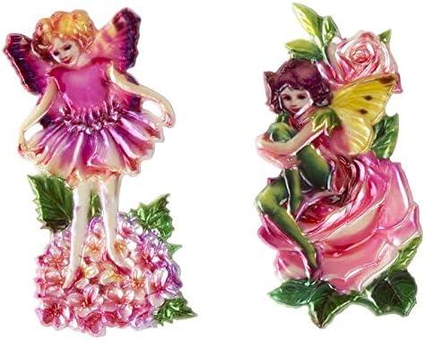 Ideen mit Herz 9 Wachsornamente zur Kerzengestaltung  Kerzenkunst  farbig  & gepräge  jeweils ca. 9 x 9 cm (Elfen auf Blumen)