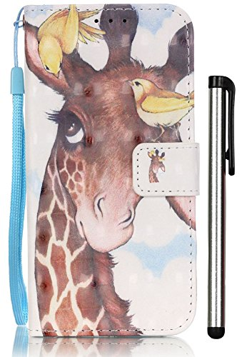 [3D Painting] Galaxy S7 Case, S7 Case, 2 Card Slot Wallet Folio PU Leather Case Cover With Magnetic Book Case For Samsung Galaxy S 7 Bird Deer (Galaxy Samsung 3 Case S Paris)