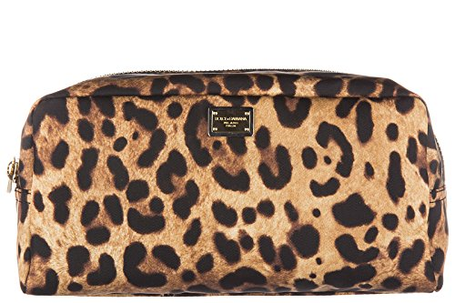 Price comparison product image Dolce&Gabbana women's travel makeup beauty case in Nylon leo brown