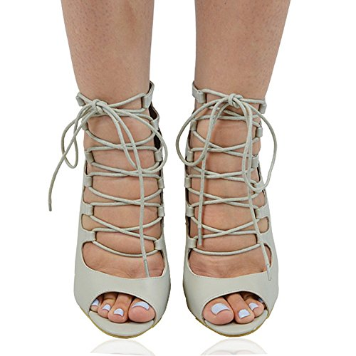 Essex Glam Womens Gladiator Hakken Lace-up Rits Stiletto Peep Toe Sandalen Grijs Synthetisch Leer