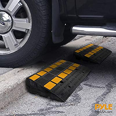 PYLE Car Vehicle Curbside Driveway Ramp-2PC Heavy Duty Rubber Threshold Bridge Track Curb Ramp, For Loading Dock, Garage, Sidewalk, Truck, Scooter, Bike, Motorcycle, Wheelchair Mobility-Pyle PCRBDR44: Automotive