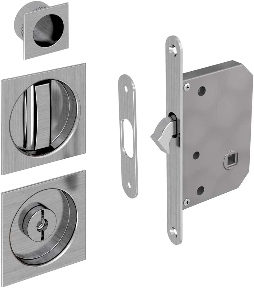 Mortise Lock Assembly Kit For Sliding Door Square Finger Pull And Flush Handles Included Satin Finish Amazon Com