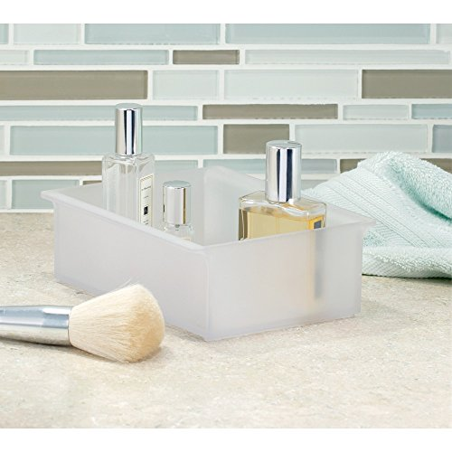 InterDesign Clarity Cosmetic Organizer Tray for Vanity Cabinet to Hold Makeup, Beauty Products - Short, Frost