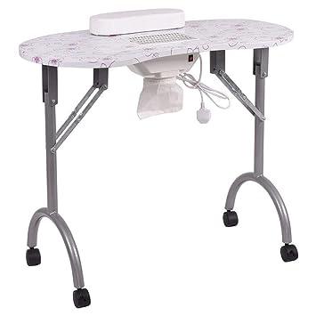 FMEZY Mesa de uñas Plegable Mesa de manicura Mesa de Trabajo de ...