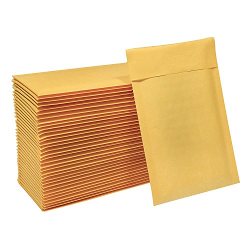 HBlife 4x8 Inches Kraft Bubble Mailers Self Seal Padded Envelopes, Pack of 50]()