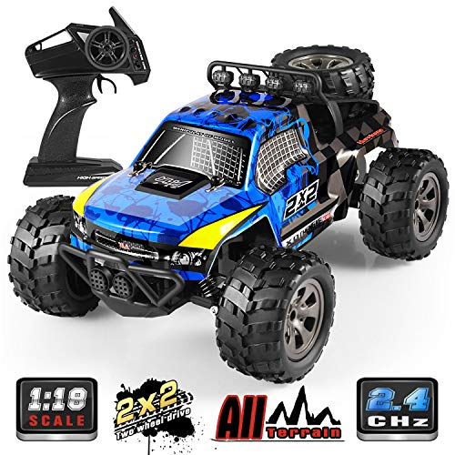 RC Car, 1:18 All Terrain Remote Control High-Speed Offroad 2.4Ghz 2WD Remote Control Monster Truck, Best Gift for Kids and - Truck Remote Monster Controlled