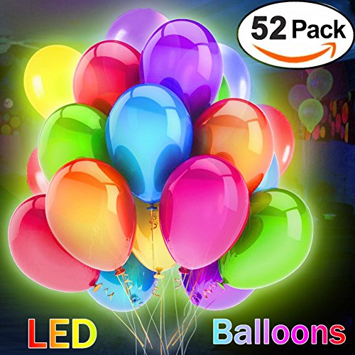52 pcs LED Light Up Balloons Flashing Party Balloons with Mixed Color for Halloween/Birthday/Wedding/Festival/Party (Lighted Ballons)