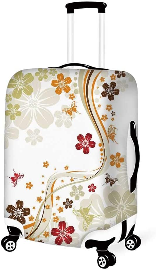 Floral Stylish Luggage Cover,Sketchy Flower Petals with Grunge Effects Blooms Florets Illustration for Luggage,L 26.3W x 30.7H