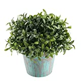 GTIDEA Fake Potted Plants Artificial Topiaries Greenery Bonsai Faux Plastic House Plants for Bathroom Home Kitchen Office Bookshelf Garden Feng Shui Decor in Vintage Wooden Pot