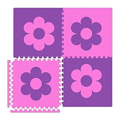 Economy Tile - Economy SoftFloors Flower Set in Pink/Purple Size: 16' x 20'