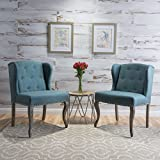 Asheville Dark Teal Fabric Chair (Set of 2)